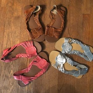 3 pair of huarache sandals
